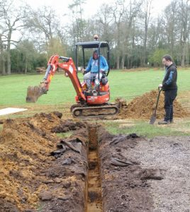 Laying the trench for the new standpipe at Birchmere Scout Campsite